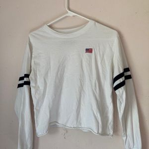 Long sleeve white cropped American shirt, Size S